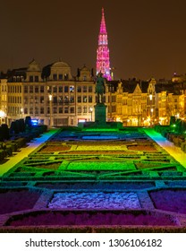 The beautiful view from Mont des Arts in the city of Brussels, Belgium.  The spire of Brussels Town Hall can be seen, along with the statue of King Albert I.