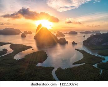 Beautiful view morning light mountain and sea at Samed Nang Chee, Krabi in Thailand.