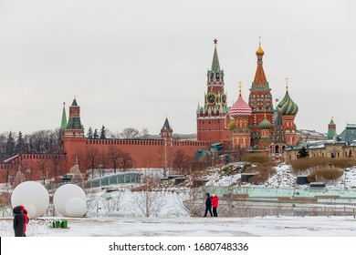 Beautiful view of the Moscow Kremlin in winter