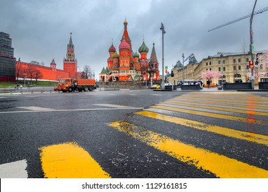 Beautiful view of Moscow Red Square Kremlin towers. Moscow architecture, Russia - in a cloudy weather. It is world famous tourist spot - Saint Basil's cathedral in background.