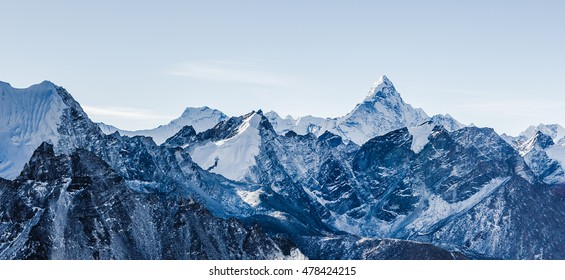 beautiful view of mount Ama Dablam with beautiful sky on the way to Everest base camp, Khumbu valley, Sagarmatha national park, Everest area, Nepal