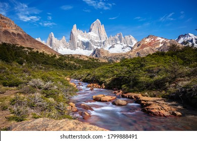 Beautiful view of Mount Fitz Roy and the glacial river, Patagonia, El Chalten - Argentina