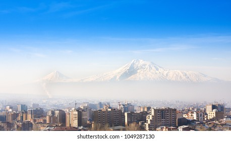 Beautiful view of Mountain Ararat and city Yerevan in spring, Armenia