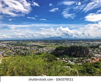 Beautiful view from the mountain to the city in Vietnam. Sunny day and clean air at the top of the mountain
