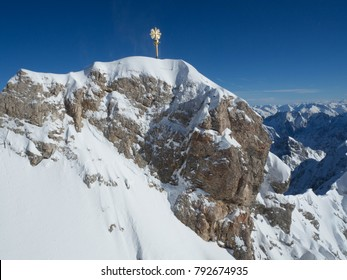 a beautiful view of mountain ranges at the highest peak in Germany - Zugspitze