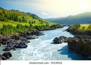 Belle vue sur la rivière des montagnes en été, Altaï, Russie