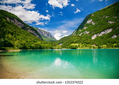 beautiful view of the mountain Tenno lake with transparent green water, Trentino, Italy