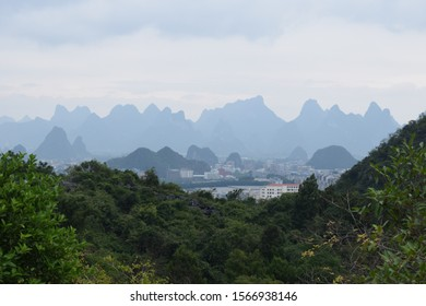 Beautiful view of mountains around the city Guilin and the Li river
