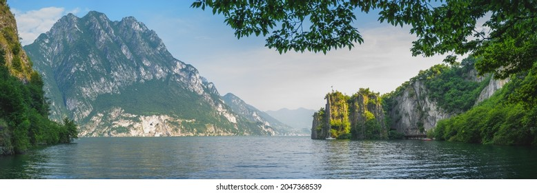 Beautiful view of mountains and lake iseo from Riva di Solto, Baia dal Bogn
