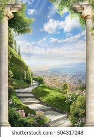 beautiful view of the mountains. old balcony with flowers and street view