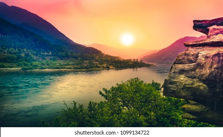Beautiful view of the mountains and river during sunset at half way stop of Gangchon Railbike ride, Gapyeong, South Korea.