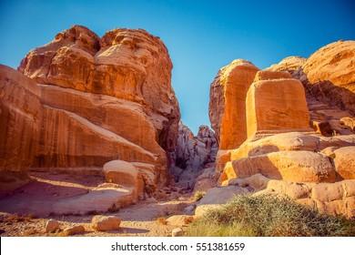 beautiful view of the mountains in Wadi Rum in Jordan