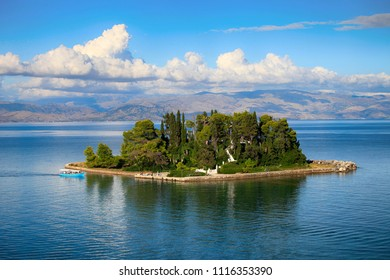 Beautiful view of Mouse Island in Corfu, Greece