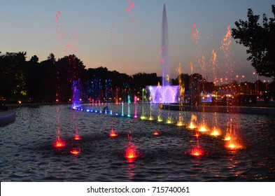Beautiful view of Multimedia fountain park during twilight, Warsaw, Poland
