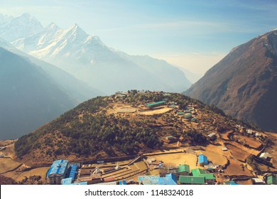 Beautiful view of Namche Bazaar, Nepal, the Himalaya mountains, Sagarmatha National Park. Shallow depth of field.