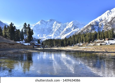 """Beautiful view """"Nanga Parbat peak"""" from """"Fairy Meadow"""". The 9th highest peak in the world is located in northern Pakistan.landmark for travel."""