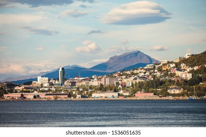 Beautiful view of Narvik, a town and the administrative centre of Narvik Municipality in Nordland county, Norway, located along the Ofotfjorden in the Ofoten region