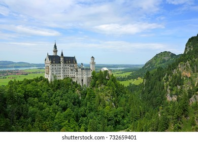 Beautiful view of Neuschwanstein castle with summer day at Bayern, Bavaria in Germany