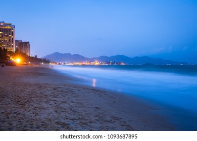 Beautiful view of the Nha trang beach at night, Vietnam