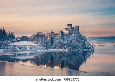 Beautiful view of Niedzica Castle during a frosty evening, Poland