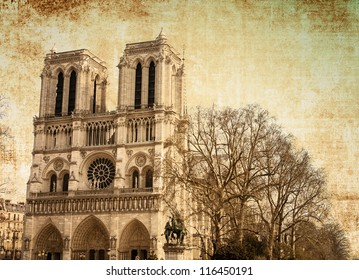 beautiful view Notre Dame Cathedral in paris france (French for Our Lady of Paris)