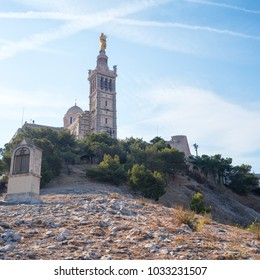 Beautiful view to the Notre-Dame de la Garde (Our Lady of the Guard), a Catholic basilica in Marseille, France