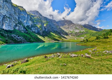 Beautiful view of Oberlegisee lake on a sunny summer day, in Braunwald, Canton of Glarus, Switzerland
