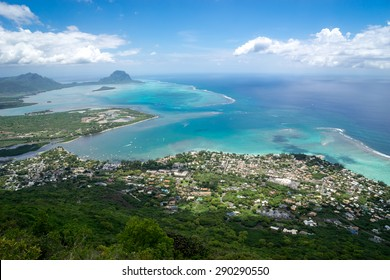beautiful view of the ocean from a height of mountains on the island of Mauritius