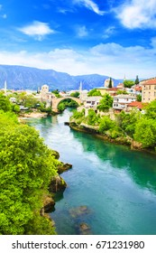 Beautiful view Old bridge in Mostar on the Neretva river, Bosnia and Herzegovina, on a sunny day