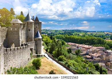 Beautiful view of old fortress of Carcassone. France. It was added to the UNESCO list of World Heritage Sites in 1997