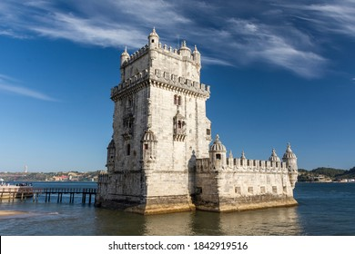 Beautiful view to old historic building of Belem Tower in Lisbon