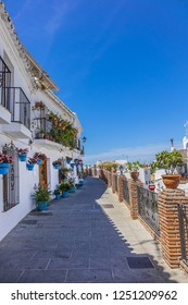 Beautiful view of old Mijas Calle Moro (Moro Street). Mijas (not far from Malaga) - Spanish hill town overlooking the Costa del Sol, known for its white-washed buildings. Mijas, Andalusia, Spain.