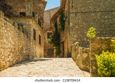 Beautiful view of old Siurana Village in the summer, in Catalonia, Spain.