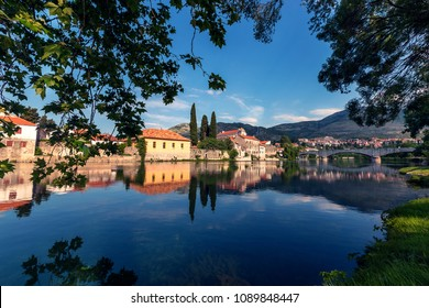 Beautiful view at old town of city Trebinje and Trebisnjica river in Bosnia and Herzegovina