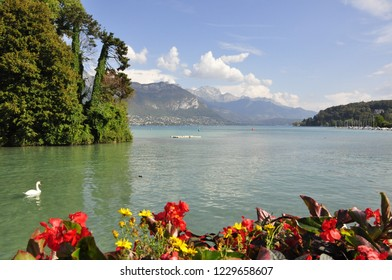 beautiful view on annecy lake in savoy