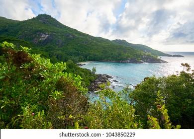 beautiful View on anse major beach after hiking anse major trail , Mahe, Seychelles