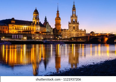 beautiful view on architecture of Dresden at evening, Germany