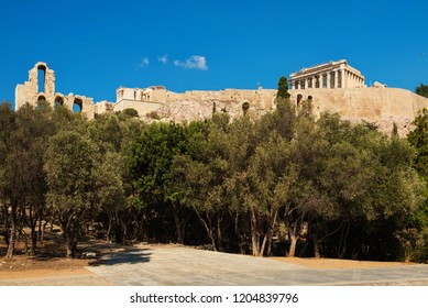 Beautiful view on the Athenian Acropolis, the architectural masterpiece of Ancient Greece. Touristic place to visit.