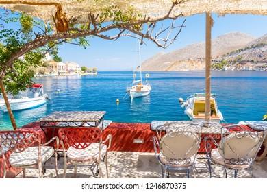 beautiful view on blue sea on Symi island in Greece