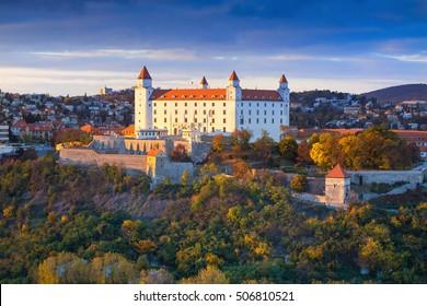 Beautiful view on Bratislava castel at the sunset in capital city of Slovakia,Bratislava,Slovakia