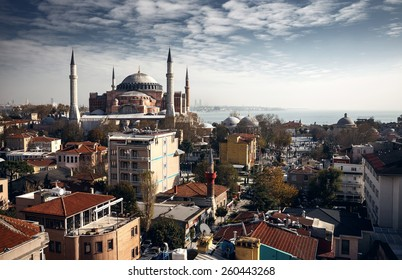 Beautiful view on buildings of Istanbul and famous Hagia Sophia, Istanbul, Turkey