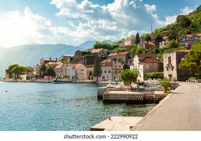 Beautiful view on city of Perast at Kotor bay at sunny day, Montenegro.