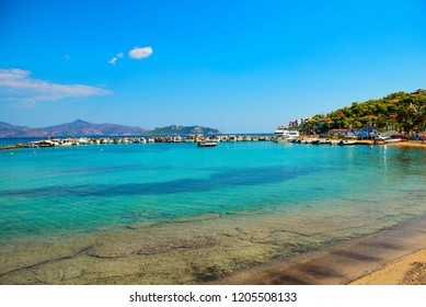 Beautiful view on clear sea water of Greek island. Touristic place to visit.
