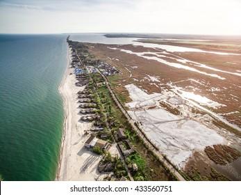 beautiful view on the coastline of Bay in Odessa region, Ukraine, aerial photo