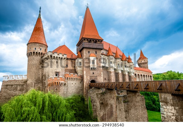 Beautiful view on Corvin castle in cloudy weather. Romanian landmarks