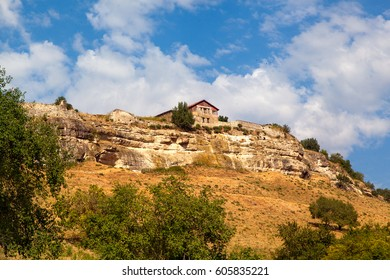 Beautiful view on the Crimea Landscape in Chufut Cale. Ancient buindings on the mountains. fortress in Bakhchisarai with many caves in it, Crimea, Ukraine