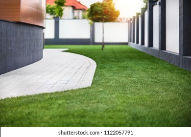 Beautiful view on cute backyard in sunny day, fresh green grass lawn in sunlight, landscaping in the garden, beauty of summer season. Well-groomed lawn, clean courtyard.