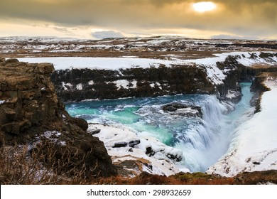Beautiful view on the famous Gullfoss waterfall in Iceland in winter