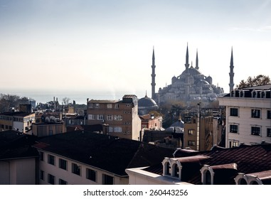 Beautiful view on Famous Sultan Ahmed Mosque (Blue Mosque) and buildings of Istanbul, Turkey