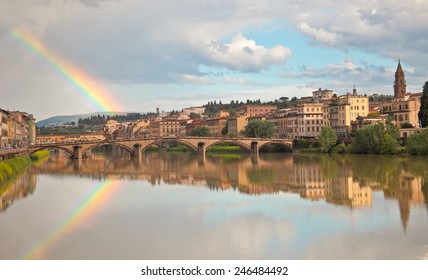 Beautiful view on Florence river Arno and rainbow.